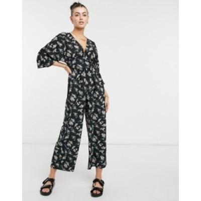 エイソス レディース ワンピース トップス ASOS DESIGN kimono sleeve V-neck jumpsuit in dark floral print Dark floral