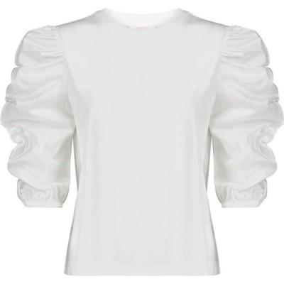 クロエ See By Chloe レディース トップス cotton jersey and poplin top White Powder