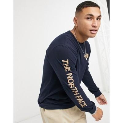 ノースフェイス メンズ シャツ トップス The North Face Hit long sleeve T-shirt in navy
