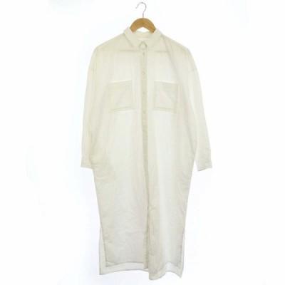 【中古】アーチザ ARCH THE 20SS ドゥーズィエムクラス取扱い ロングシャツ シャツワンピ 長袖 38 白 ホワイト /DF ■OS レディース 【ベクトル 古着】