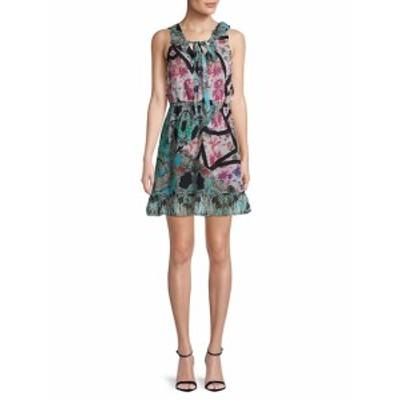 ニコールミラー レディース ワンピース Pleated V-Neck Silk Day Dress