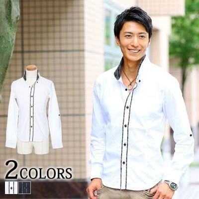 シャツ メンズ 長袖 トップス 2枚襟 美シルエット 形態安定 おしゃれ 20代 30代 40代 50代 メンズスタイル menz-style 大きいサイズ