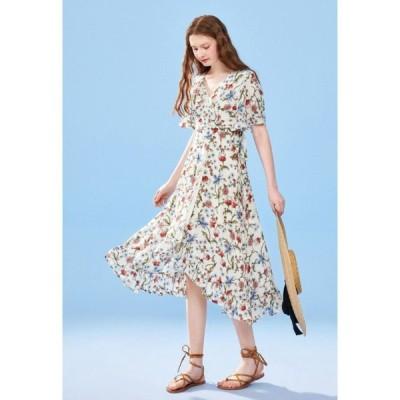 春夏 ドレス ロングドレス ワンピース サマードレス 花柄 半袖 ミモレ丈 Vネック ガーリー フェミニン カジュアル