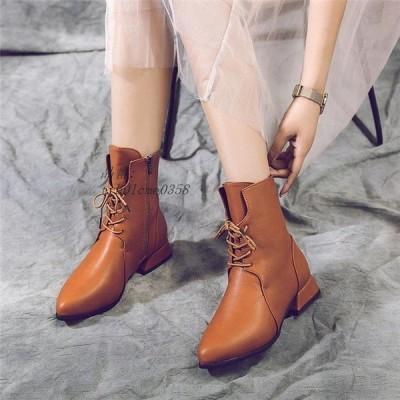 ショートブーツ レディース 靴 ブーツ 歩きやすい PU 大きいサイズ ヒールブーツ 秋 通勤 ミドルブーツ OL 裏起毛 シューズ 冬 太めヒール 美脚