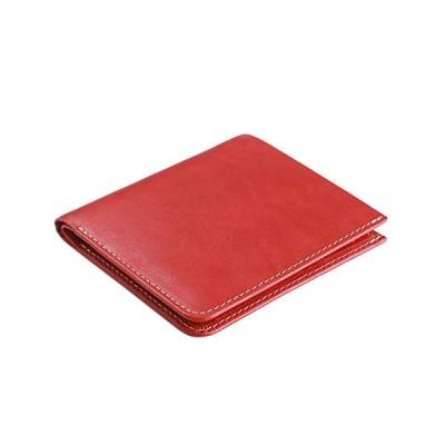 [ハナトラ] [HANATORA] イタリアンレザー 二つ折り財布 軽くて小さい財布 ベジタブルタンニンレザー M03-Red レッド