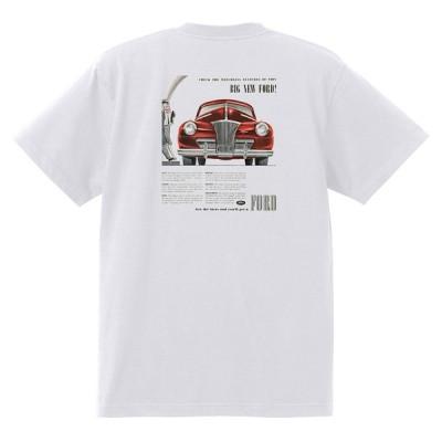 アドバタイジング フォード Tシャツ 白 1102 黒地へ変更可 1941 ホットロッド ローライダー ロカビリー アドバタイズメント レッドスレッド