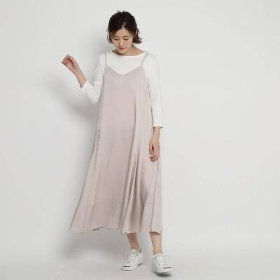 デッサン Dessin 【Sサイズあり・洗える】ヴィンテージサテンキャミロングワンピース (ピンク)