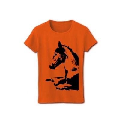 馬 リブクルーネックTシャツ(オレンジ)