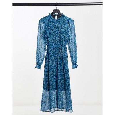ニュールック レディース ワンピース トップス New Look midi dress in blue floral print