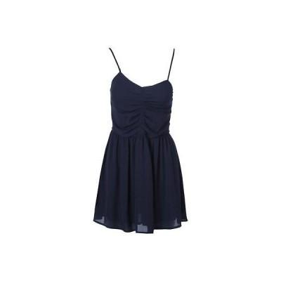 アクア ドレス ワンピース アクア 2861 レディース ネイビー Chiffon ミニ Vネック カジュアル ドレス S BHFO