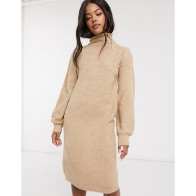 アーバンブリス レディース ワンピース トップス Urban Bliss roll neck dress in beige