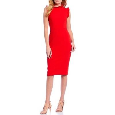 マギーロンドン レディース ワンピース トップス Ruffle Mock Neck Sheath Dress Tomato Red