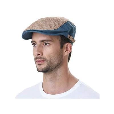 WITHMOONS 帽子 夏用ツートンカラーおしゃれハンチング帽 サイズ調節可能 AC3046 (ベージュ Free Size)