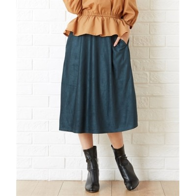 Green Parks(グリーンパークス)。スエードフレアスカート (ロング丈・マキシ丈スカート)Skirts