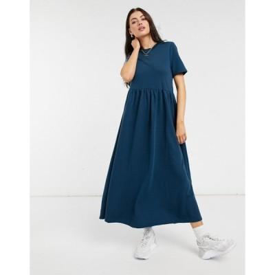 アーバン スレッド  レディース ワンピース トップス Urban Threads midi sweater dress with tiered hem in teal Teal