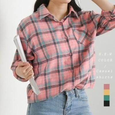 ゆるっとだぼっと可愛い!アシンメトリーデザインタータンチェック柄ビッグシャツ(utor0039)
