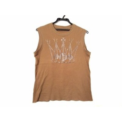 ルシアンペラフィネ lucien pellat-finet ノースリーブTシャツ サイズXS レディース - ライトブラウン×シルバー【中古】20210117