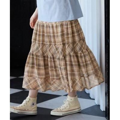 ワンピース ロング マキシ 大きいサイズ レディース ティアード スカート カーキ系/ネイビー系 L/LL/3L ニッセン
