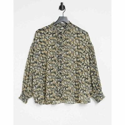 マンゴ Mango レディース ブラウス・シャツ トップス sheer blouse in floral print ブラック