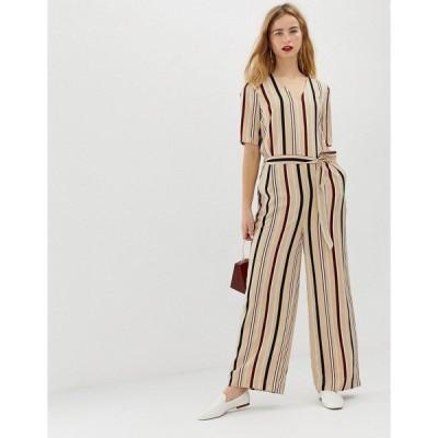 セレクティッド レディース カットソー トップス Selected Femme stripe jumpsuit with wide leg Multi