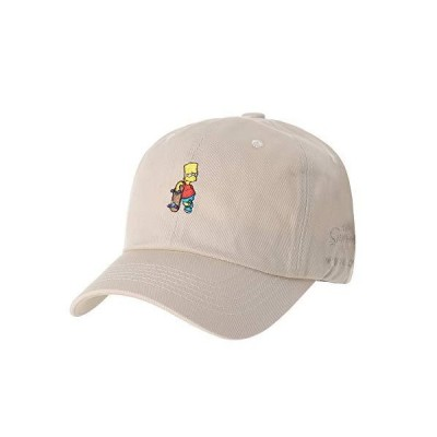 WITHMOONS The Simpsons Ball Cap Bart Skateboard Matt Groening HL1583 (Beige)