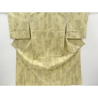 リサイクル 草花模様織り出し十日町紬単衣着物