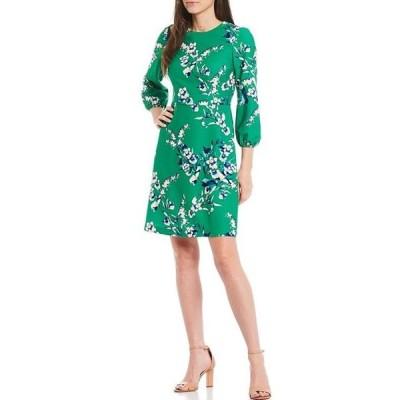 エリザジェイ レディース ワンピース トップス Floral Stretch Crepe A-Line Dress