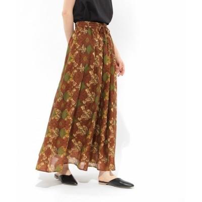スカート コットンボイルプリントギャザースカート / LAKOLE