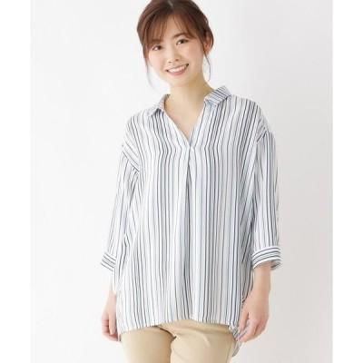 SHOO・LA・RUE / シューラルー 【M-LL】7分袖スキッパーシャツ