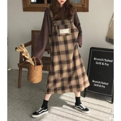 韓国 ファッション レディース ジャンパースカート ワンピース チェック ロング 大きいサイズ スリット 大人可愛い カジュアル レトロ 秋