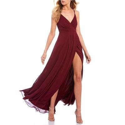 シークインハーツ レディース ワンピース トップス Double Spaghetti Strap Faux-Wrap Side Slit Long Dress