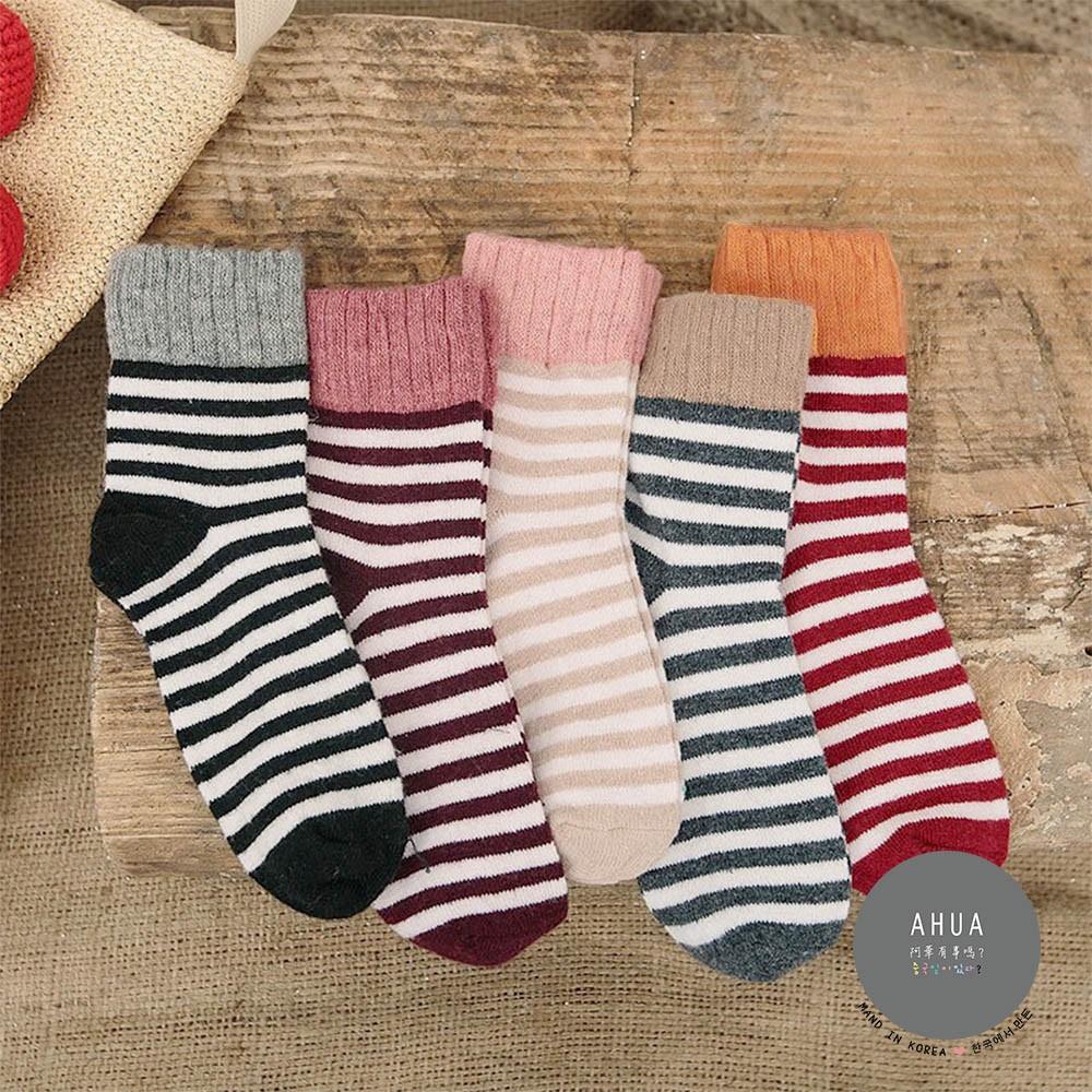 AHUA阿華有事嗎  日系襪子 拼色條紋羊毛襪 S0329 少女襪 韓妞必備長襪 百搭純棉襪 素色襪子