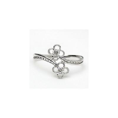 リング レディース 指輪 18金 18k K18 ゴールド ダイヤモンド ダイヤ 0.1ct カラット フラワーデザイン