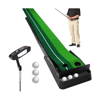 Wood Golf Putting Mat Come with 3 Golf Balls- Portable Mat with Auto Ball R