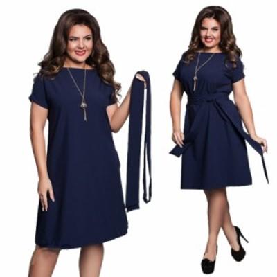 【 L ~ 6XL 】 大きいサイズ レディース 夏 ドレス ミディ丈 スカート 半袖 ボートネック 丸首 ビッグ サイズ 6l 5l 4l 70540
