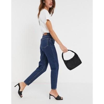 オブジェクト レディース デニムパンツ ボトムス Object Vinnie mom jeans in dark blue