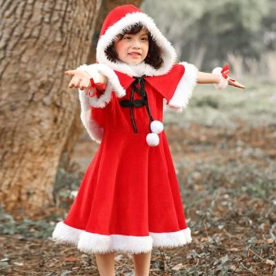 サンタ サンタクロース クリスマス衣装 仮装 コスプレ コスチューム 子供服 クリスマス メリークリスマス キッズ クリスマス マント ワンピース 演出服xsd11