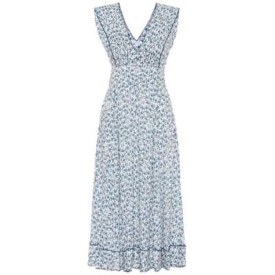 プーペット セント バース Poupette St Barth レディース ワンピース ミドル丈 ワンピース・ドレス daisy floral midi dress White Blue Bell