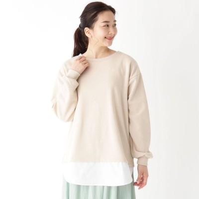 ピンクアドベ pink adobe 【M-3L】レイヤードトップス (クリーム)