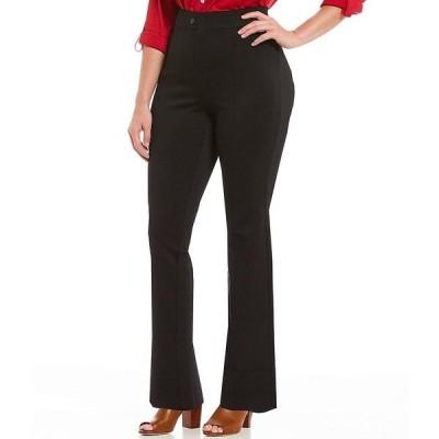 イントロ レディース カジュアルパンツ ボトムス Plus Size Bella Solid Double Knit Slim Her Straight Leg Pants Ebony Black