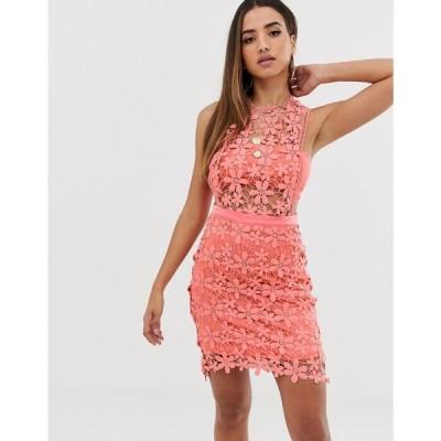 ミスガイデッド Missguided レディース ワンピース ワンピース・ドレス lace shift dress in coral Coral