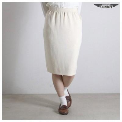 古着 生成り ベージュ アイボリー 無地 タイト ニット 膝丈 スカート レディース ヴィンテージ (古着屋RAINBOW 通販) (btu1701116)