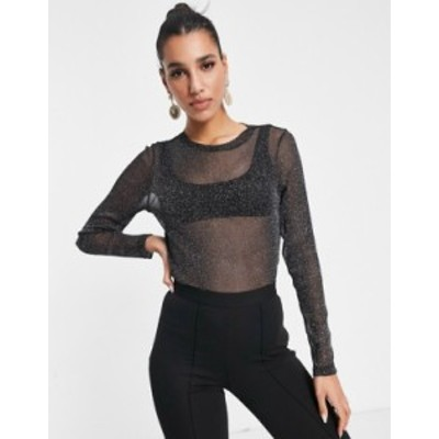エイソス レディース シャツ トップス ASOS DESIGN glitter mesh long sleeve t-shirt in black Black