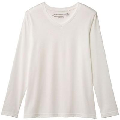 シンプルVネックTシャツ(長袖)(洗濯機OK)/ホワイト/L