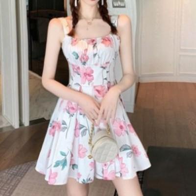 ワンピース ミニ ワンピ ノースリーブ キャミ 花柄 ショート丈 Aライン 夏 春 リゾート