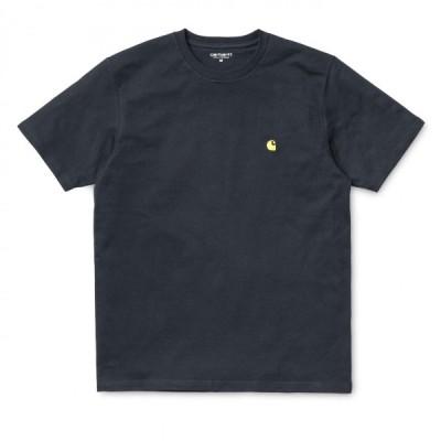 カーハート メンズ チェイス 半袖 Tシャツ ダークネイビー/ゴールド ルーズフィット CARHARTT WIP S/S CHASE T-SHIRT DARK NAVY/GOLD I026391