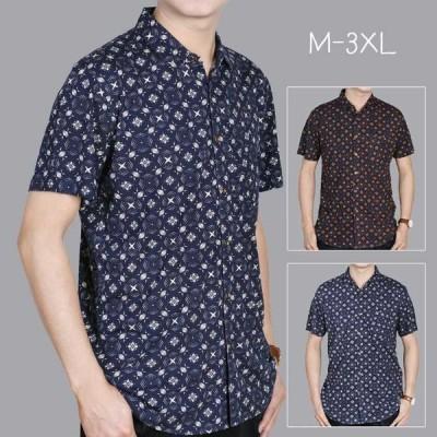 シャツメンズカジュアルシャツトップス半袖シャツオープンカラーシャツ開襟シャツ大きいサイズファッション総柄シャツ夏ビジネス