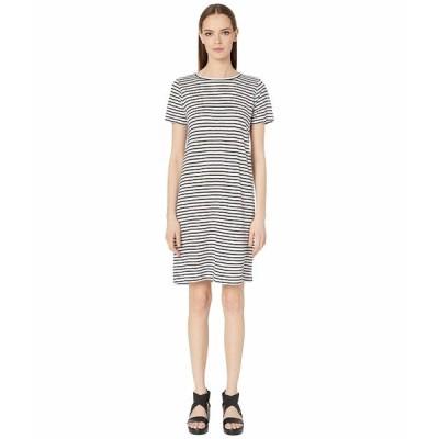 エイリーンフィッシャー ワンピース トップス レディース Organic Linen Jersey Stripe Round Neck Dress White/Black