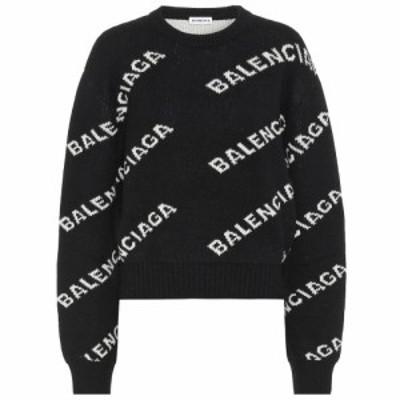 バレンシアガ Balenciaga レディース ニット・セーター トップス Logo intarsia wool sweater Black/White