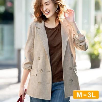 Ranan 【M~3L】洗える!麻調素材ダブルブレストジャケット ベージュ L レディース